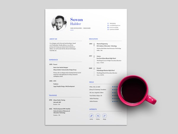 Halder Resume Template - Free Resume Template with Clean and Minimal Design