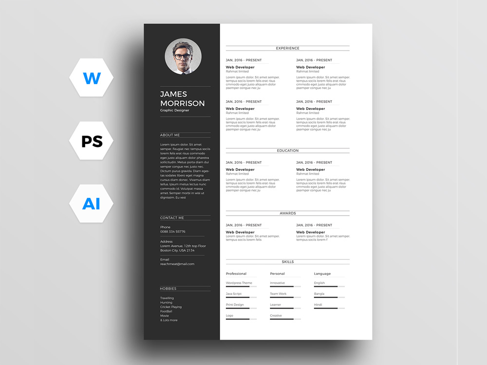 Free Minimal Resume Template for Word, Illustrator and Photoshop