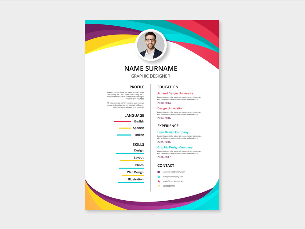 Free Two Column Resume Template With Colorful Style Design