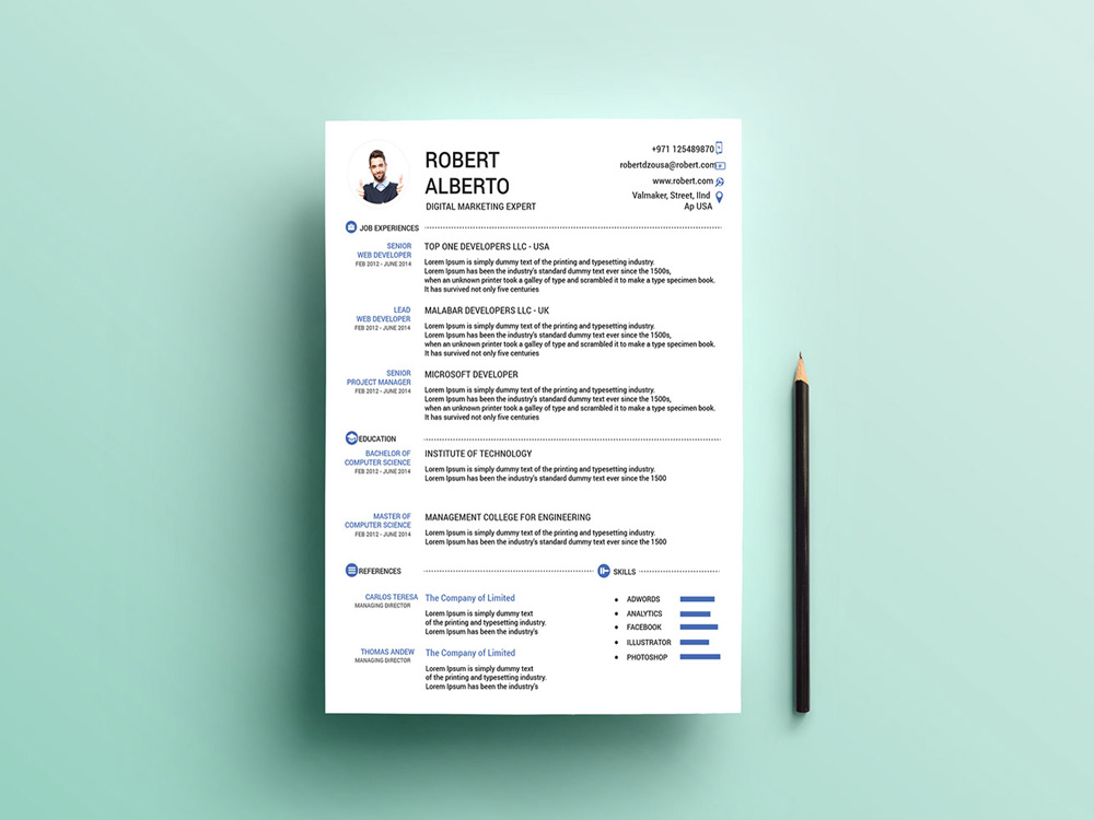 Free Marketing CV Template with Matching Cover Letter page