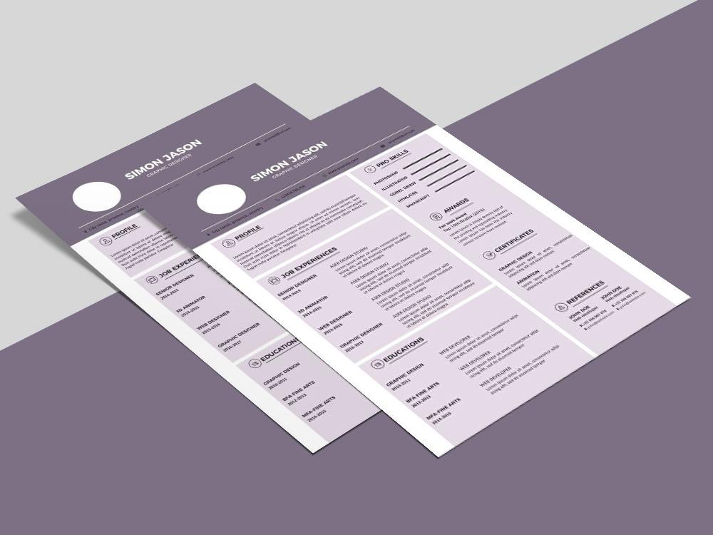 Free Purple CV Template for Any Job Seeker