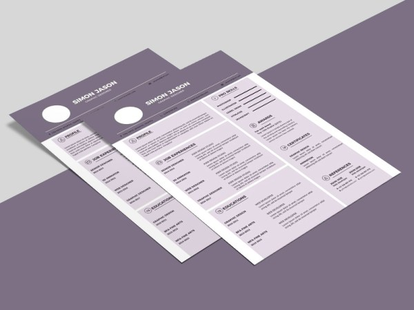 Free Purple CV Template for Any Job Seeker