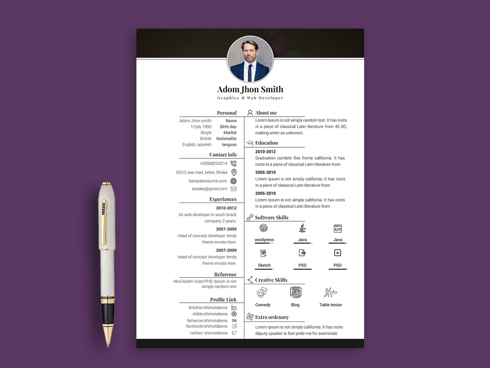 Free Resume template in PSD and INDD File Format