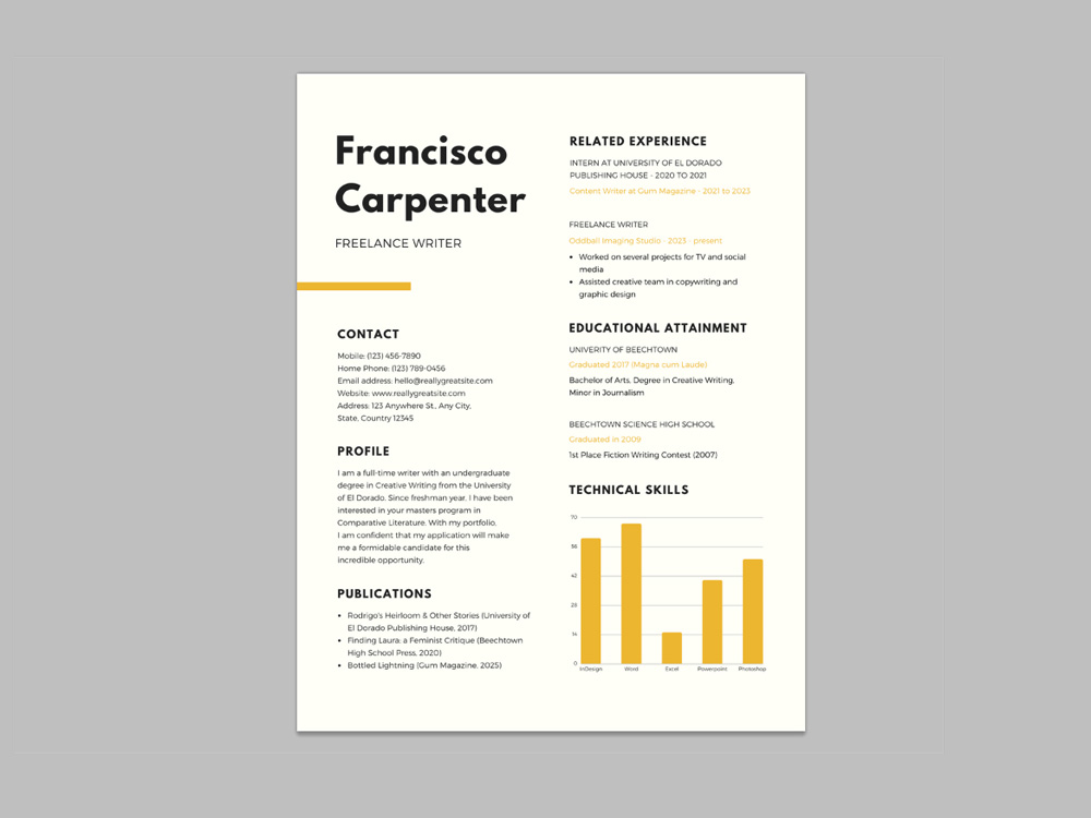 Free Resume Template for Freelance Writer