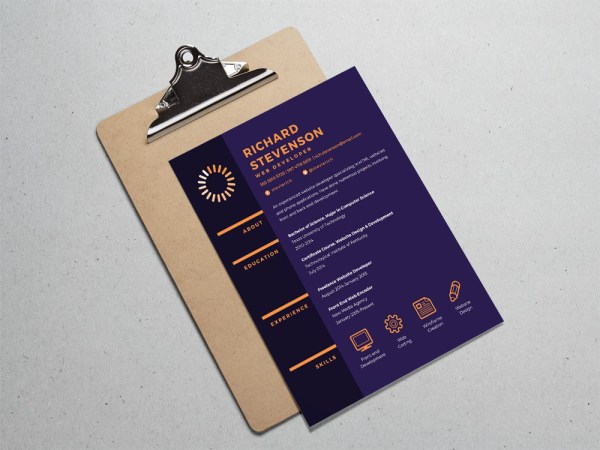 Free Purple Resume Template for Web Designer