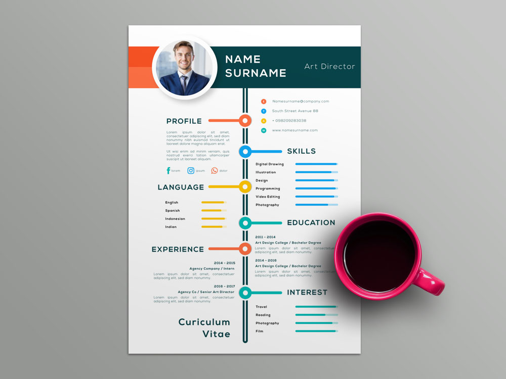 Here Is Free Colorful Illustrator Resume Template With Timeline Style Design For Job Seeker Come It Will Help You Make A Best