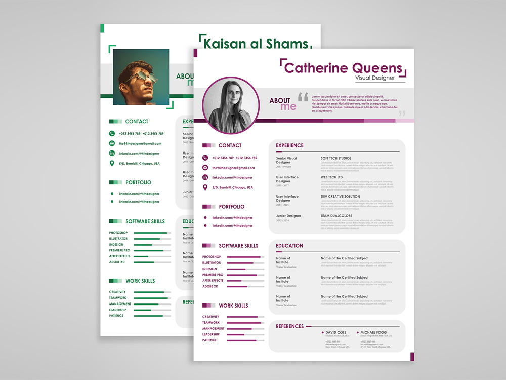 Free Couple Resume Template With Simple Style Design