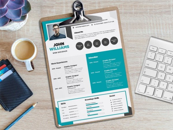 Free Flat CV/Resume Template with Creative Design