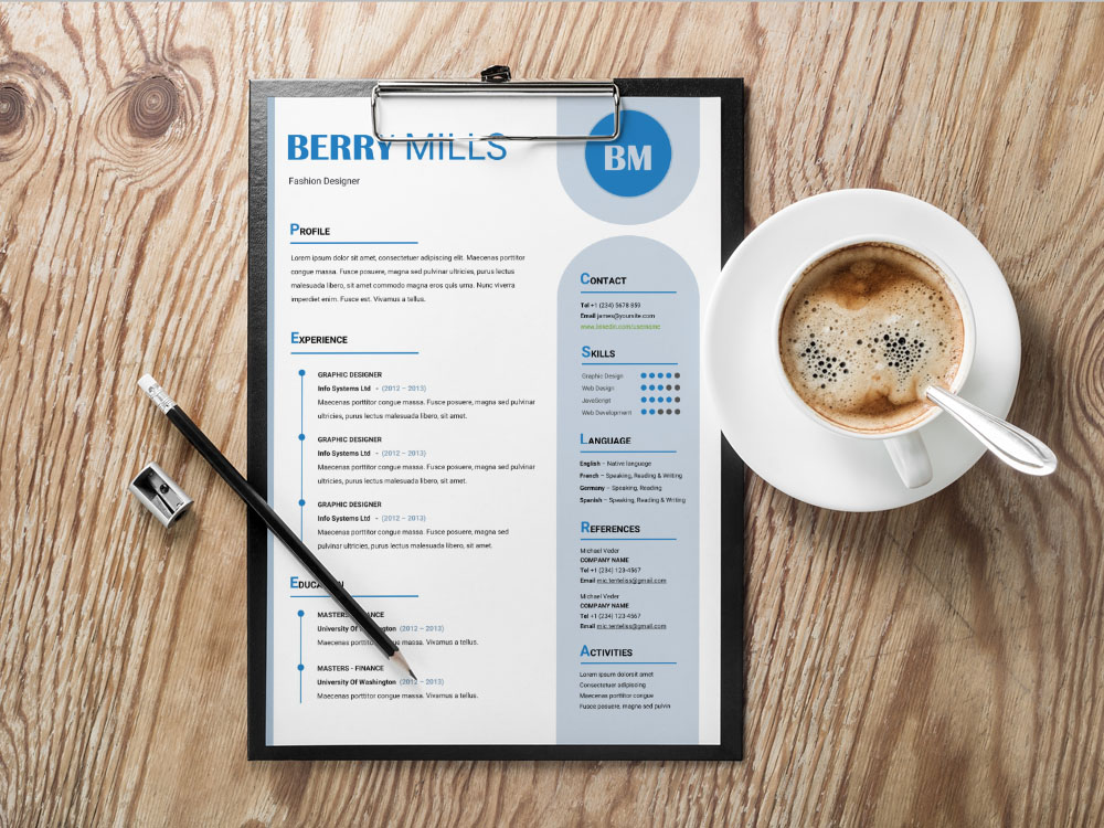 Free Effective Resume Template with Creative and Modern Design in MS Word format