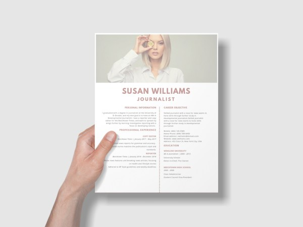 Free Journalist Resume Template with Minimal Style Design