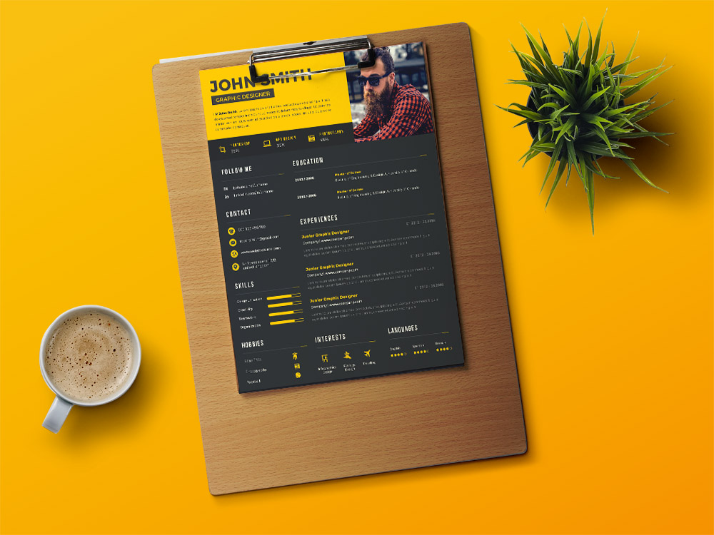 Free Creative Resume Template With Black And Yellow Colors