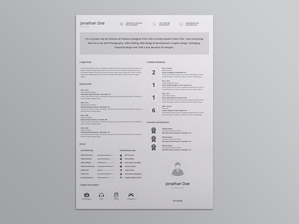 Free Editable Ai Resume Template With Minimalist Design