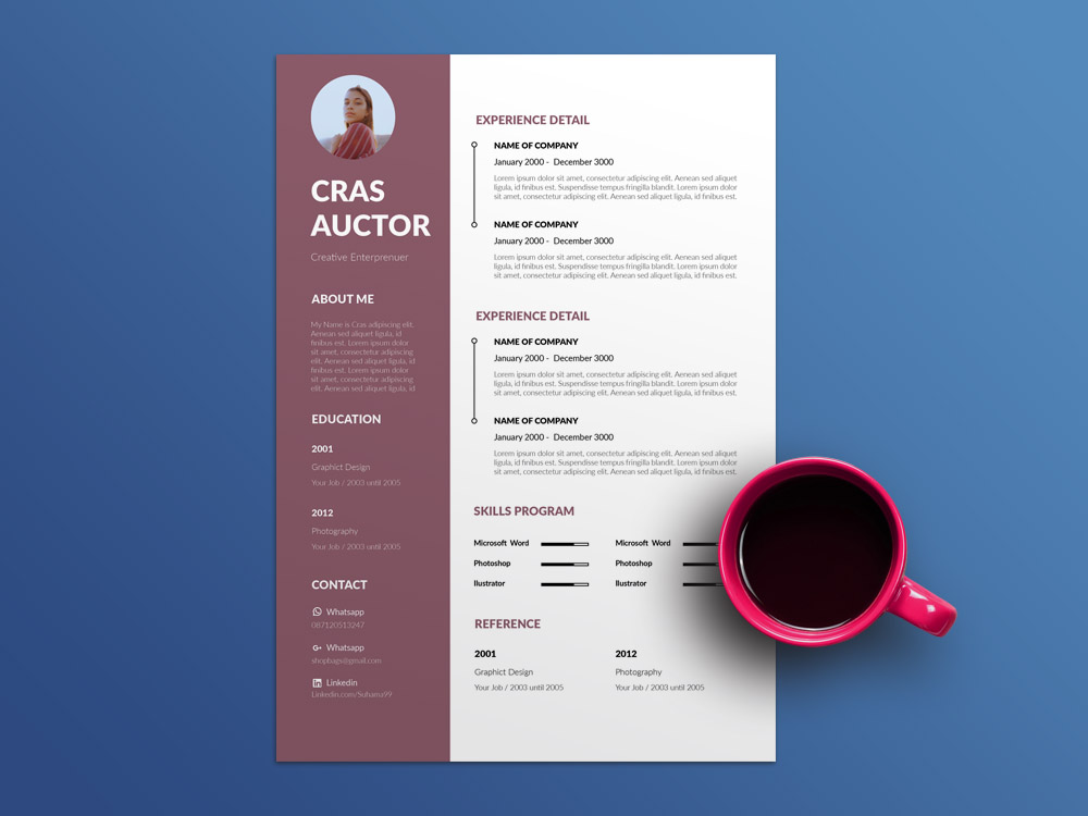 Free Editable Resume Template With Cover Letter Page