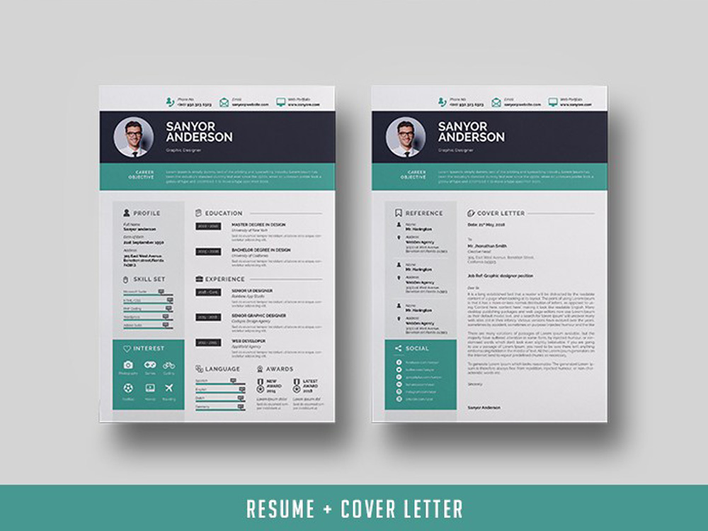 free infographic indesign resume template with cover letter page