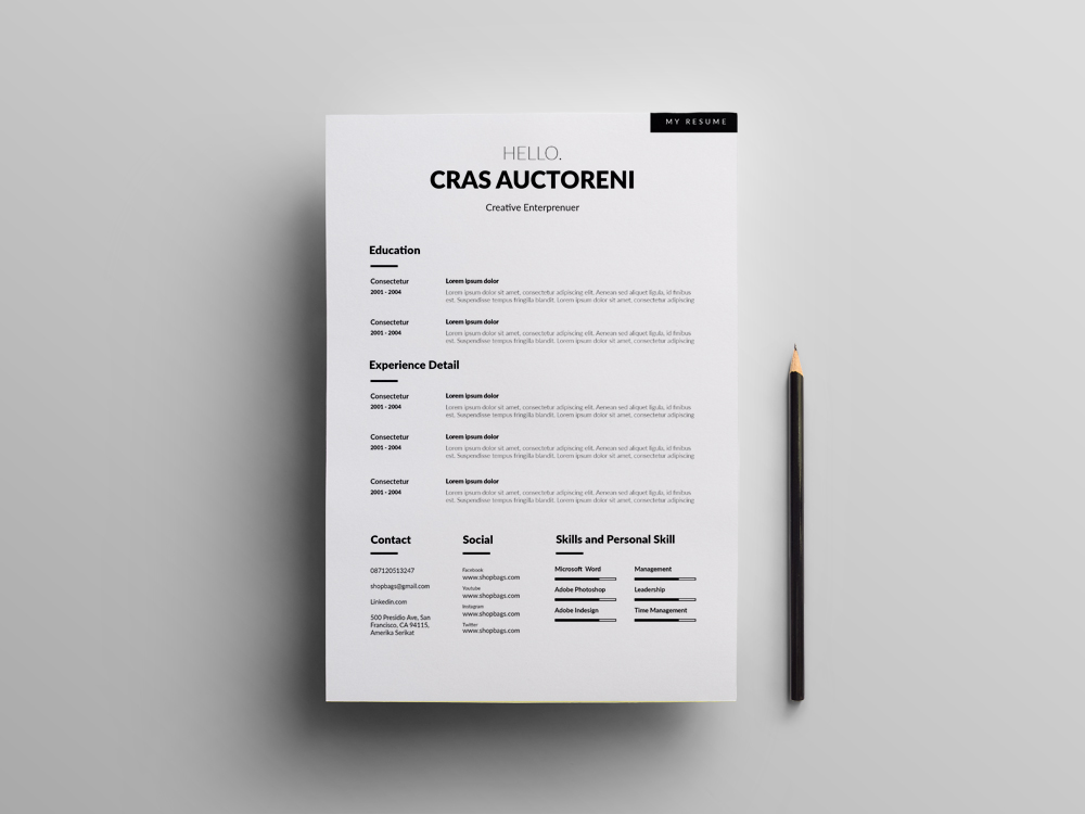 Here Is Free Simple Clean Cv Template With Cover Letter Page It Easy To Use And Customize Different Multifile Format So You Can Quickly Tailor Make