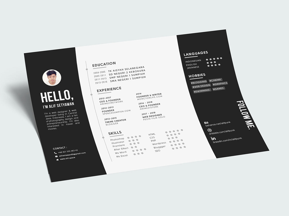 Free Creative Landscape Resume Template in PSD File Format %