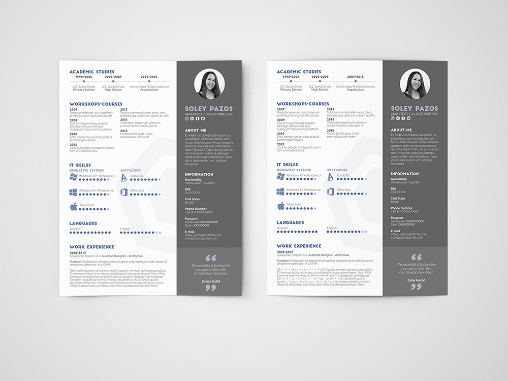 Free Architect Resume Template With Clean And Modern Design
