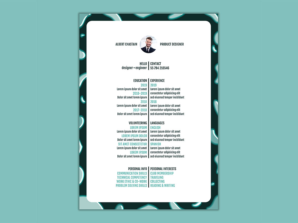 free line resume template for your next dream job