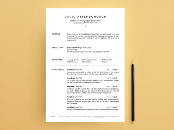 David Attenborough Resume - Free One Page Resume Template