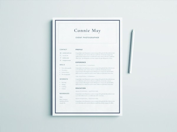 Free Event Photographer Resume Template
