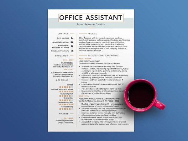 Free Office Assistant Resume Template with Sample Text