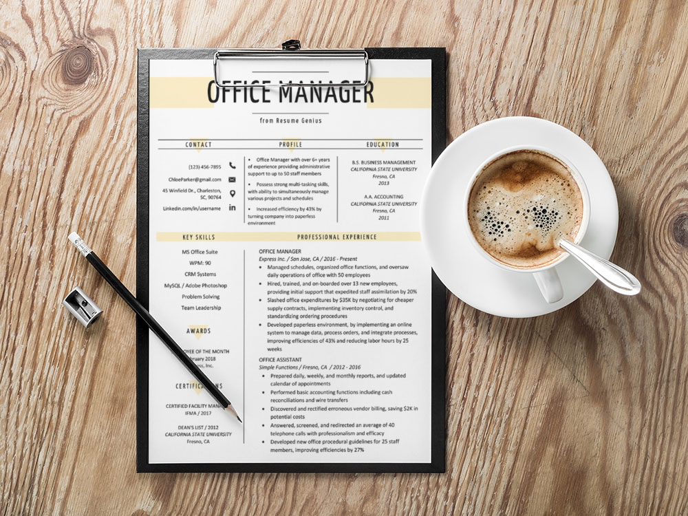 Free Office Manager Resume Template with Sample Text