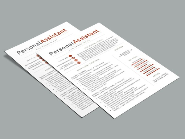 Free Personal Assistant Resume Template with Clean Design