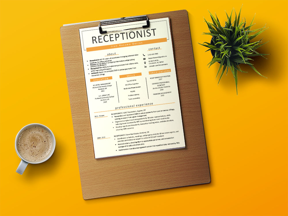 Free Receptionist Resume Template with Formal Style Design