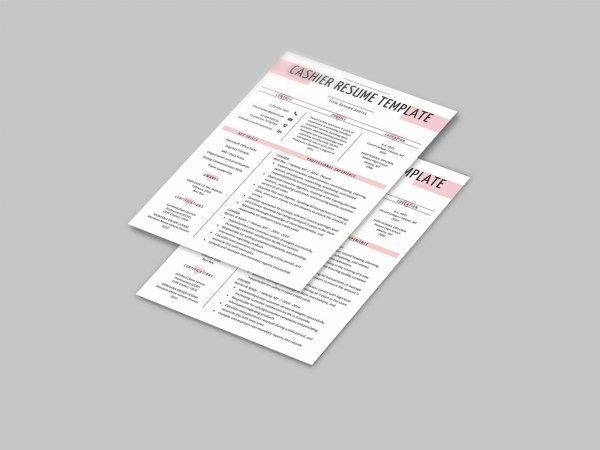Free Cashier Resume Template with Minimalist and Clean Look