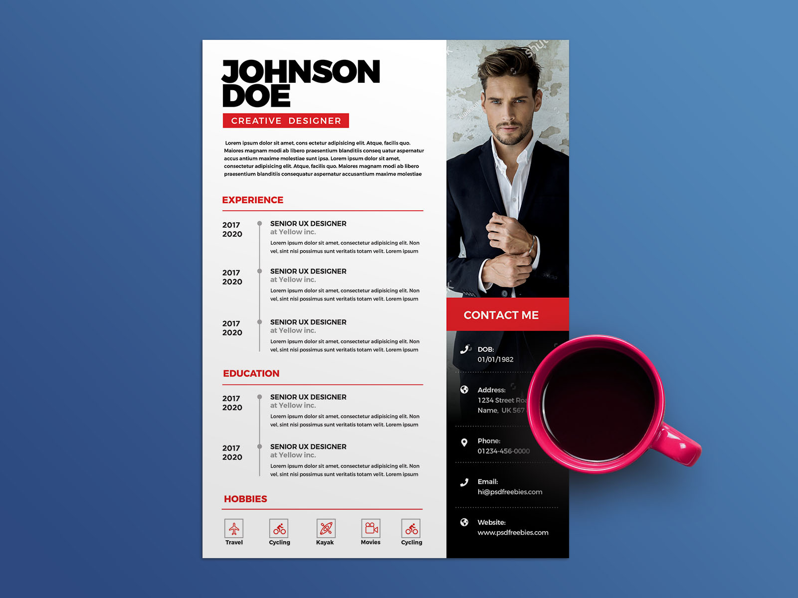 free clean psd cv  resume template for any job opportunity