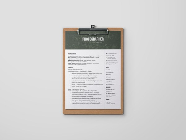 Free Photographer Resume Template