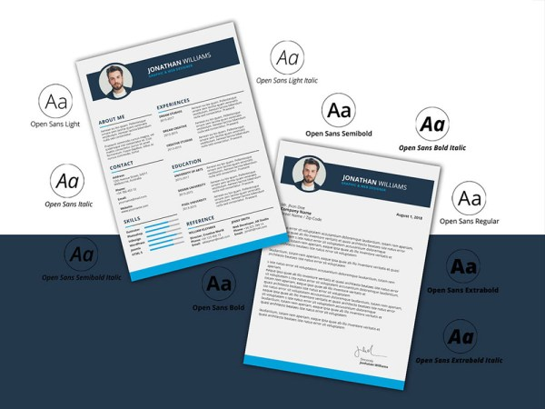 Free Photoshop Resume Template with Matching Cover Letter