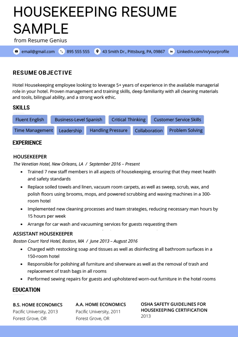 Free Housekeeping Resume Template for Your Next Job Opportunity