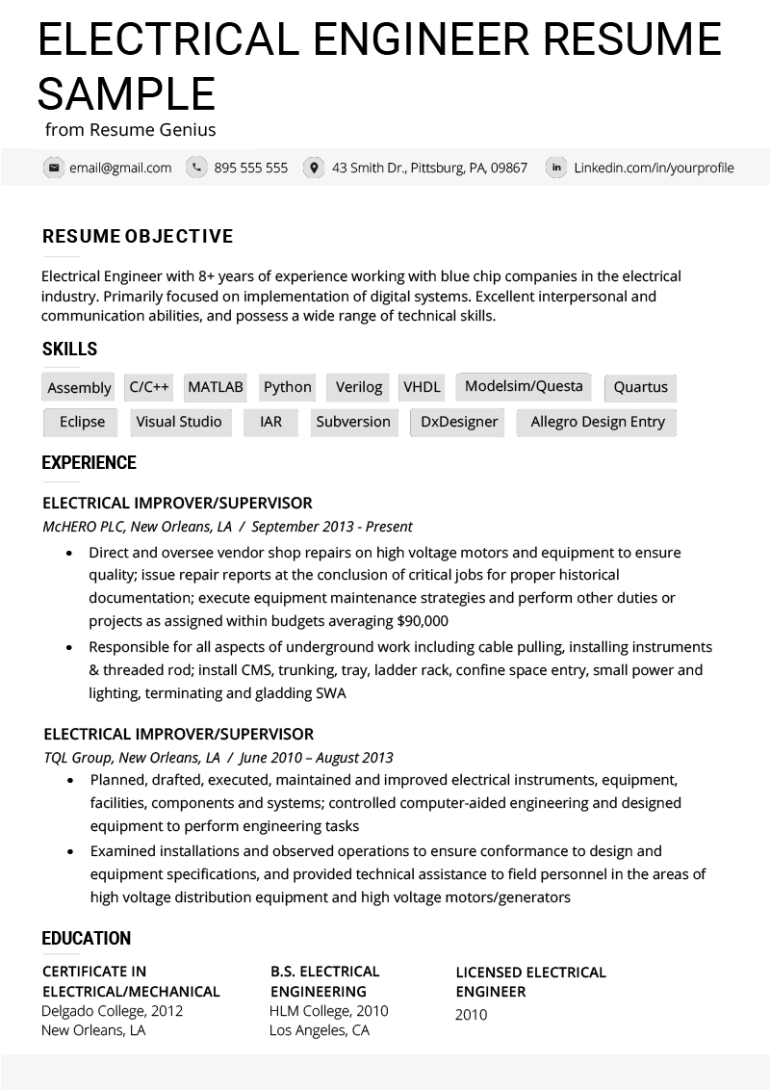 free electrical engineer resume template for job seeker