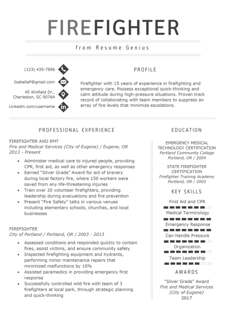 free firefighter resume template with clean and simple design