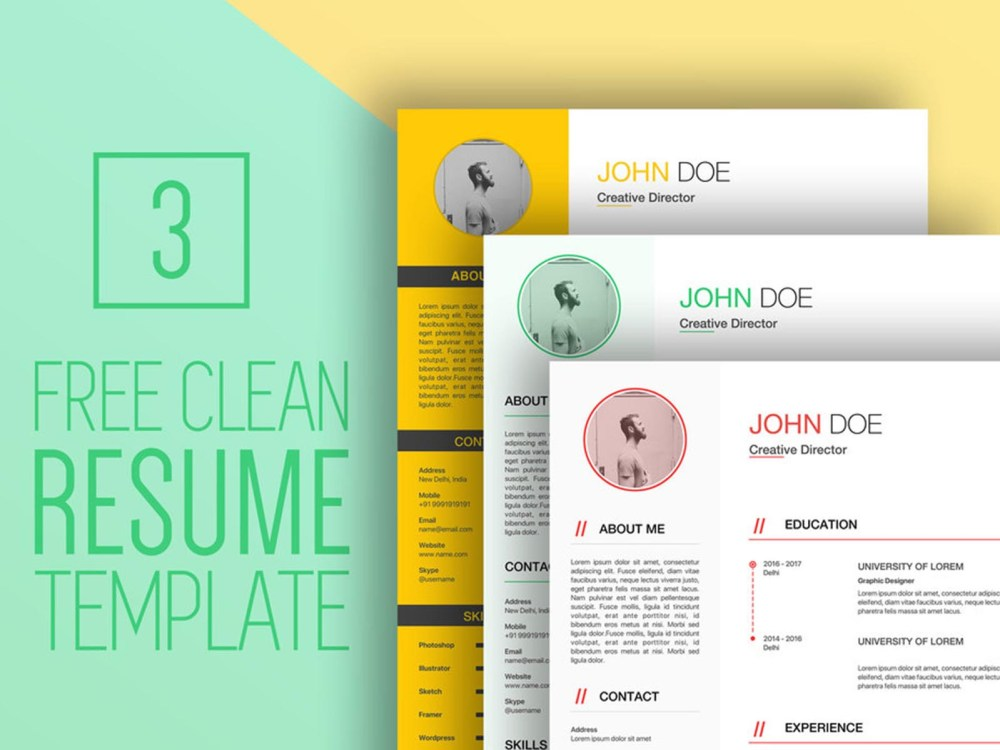 Free Clean Sketch CV/Resume Template for Job Seeker