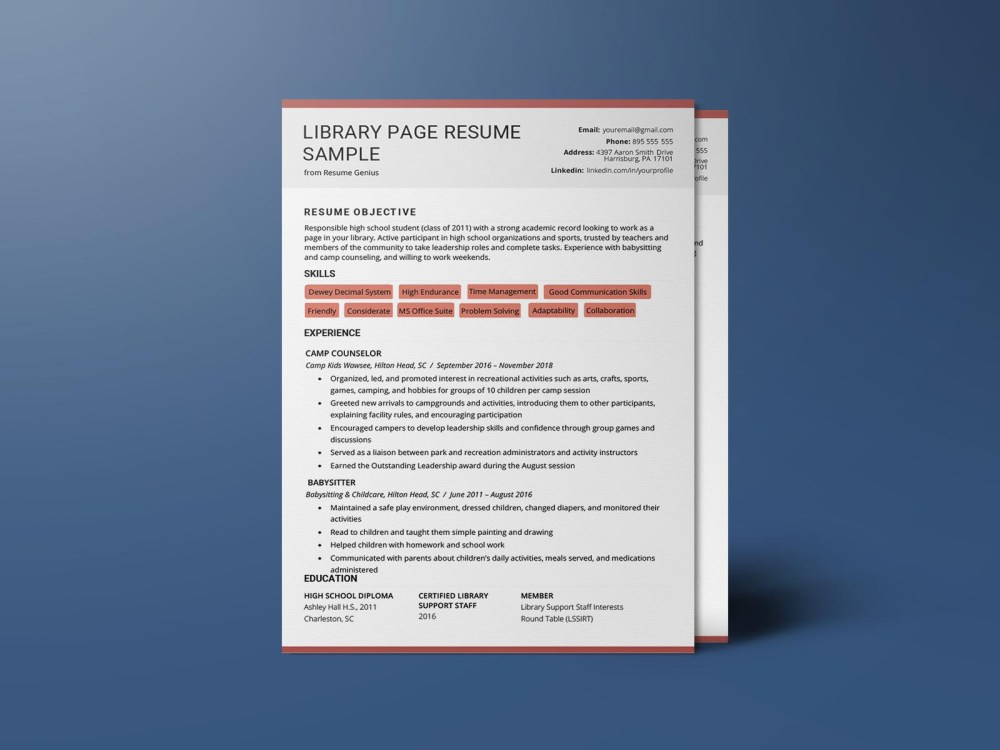 Free Library Officer Resume Template with Clean and Fresh Look