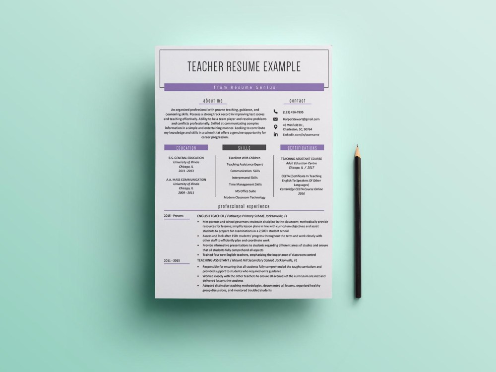 Free Teacher CV/Resume Template with Clean and Simple Look