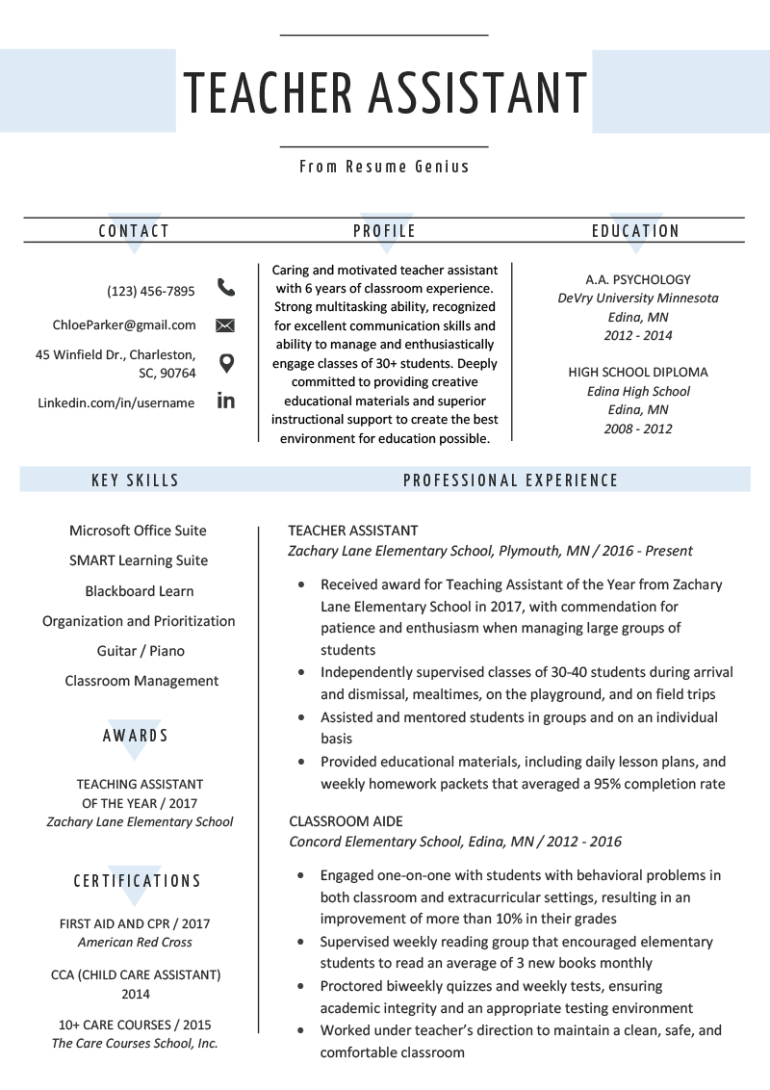Free Teacher Assistant Resume Template with Elegant and Simple Design
