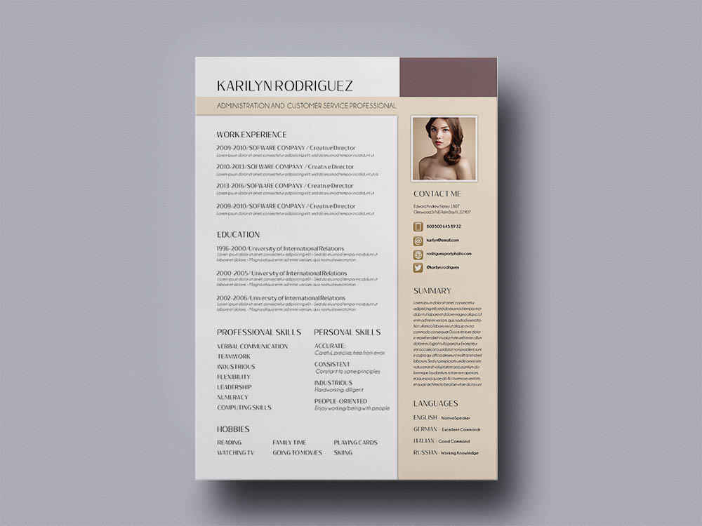 Free Administration Resume Template