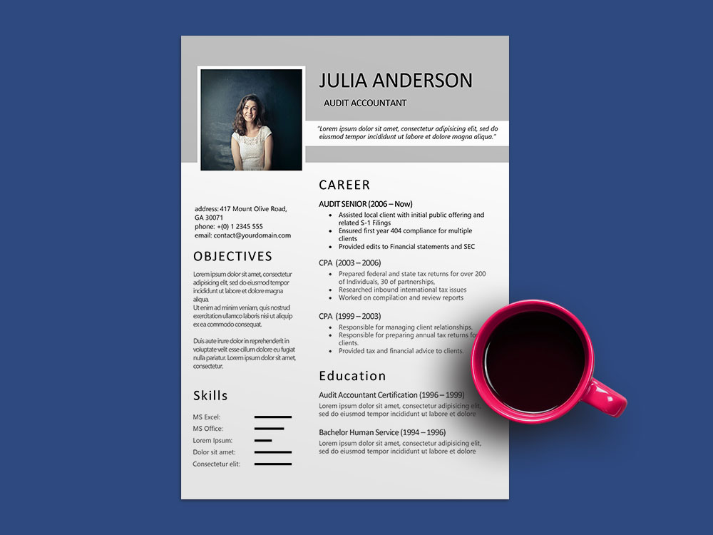 Free Audit Accountant Resume Template with Sample Text