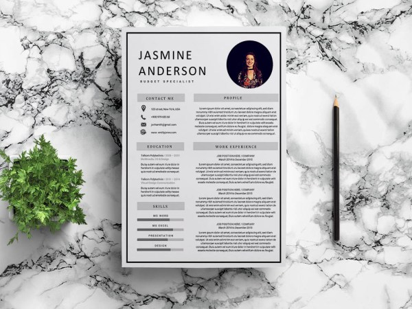 Free Budget Specialist Resume Template with Clean and Modern Look
