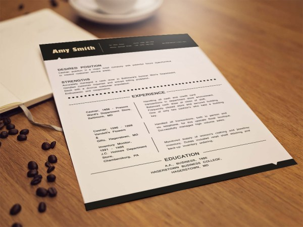 Free Cashier Resume Template with Simple and Elegant Look