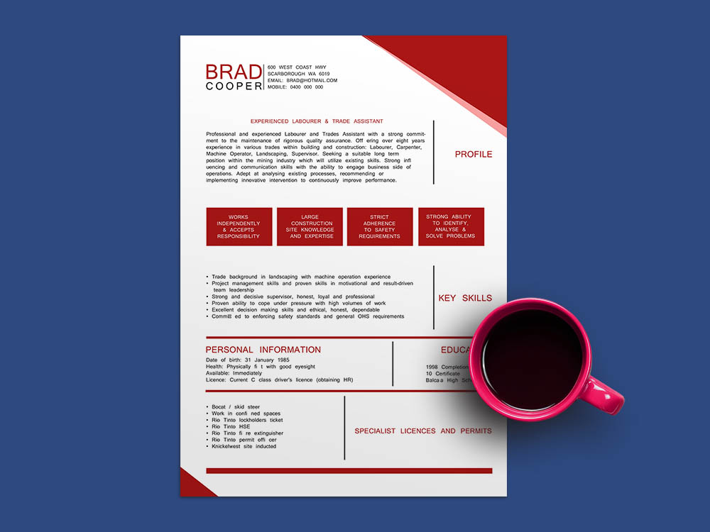 Free Construction Job Resume Template with Clean and Modern Look