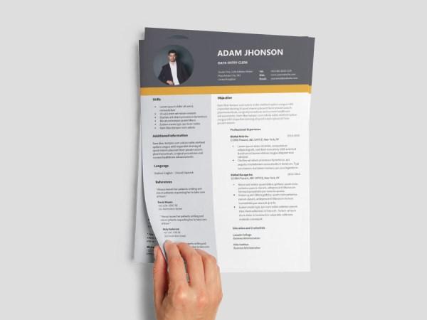 Free Data Entry Clerk Resume Template for Job Seeker