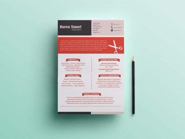 Free Hair Dresser Resume Template with Clean and Professional Look