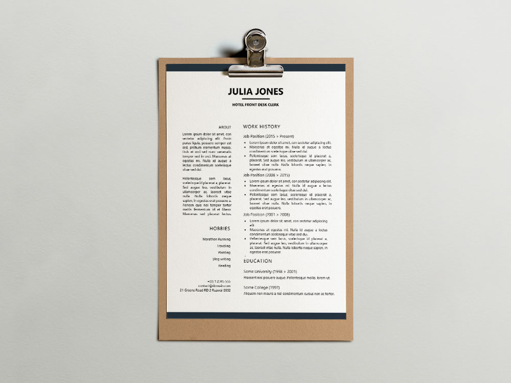 Free Hotel Front Desk Clerk Resume Template for Job Seeker