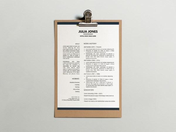 Free Hotel Front Desk Clerk Resume Template for Job Seeker