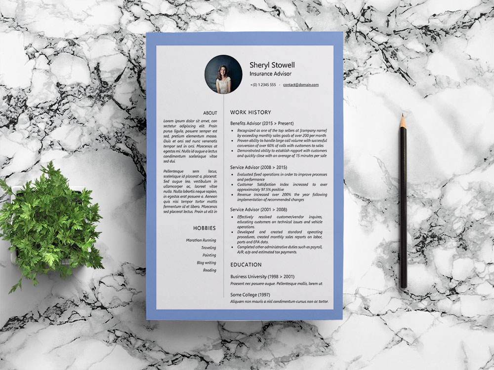 Free Insurance Advisor Resume Template with Example Text