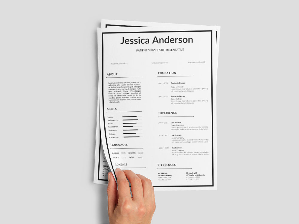 Free Patient Services Representative Resume Template for Job Seeker